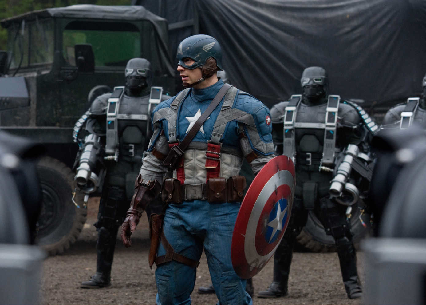 Chris Evans as Captain America, this is the costume that you'll see in