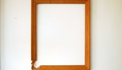 01 Oracle (2011) carved wooden picture frame 19 x 23 x 2 inches