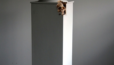 01 Self Doubt (Macaque) (2010) Carved plywood plinth, Bell jar 13 x 13 x 58 inches