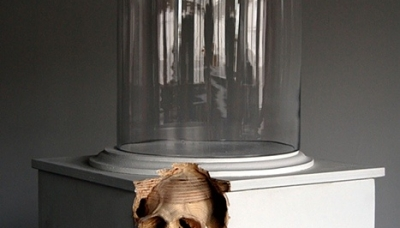 02 Self Doubt (Macaque) (2010) Carved plywood plinth, Bell jar 13 x 13 x 58 inches