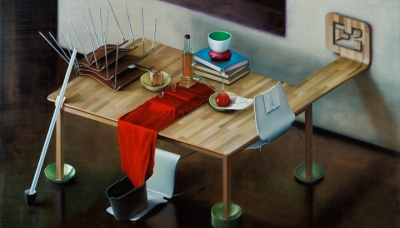 2008 Table set for E.M., oil on wood panel, 100x150