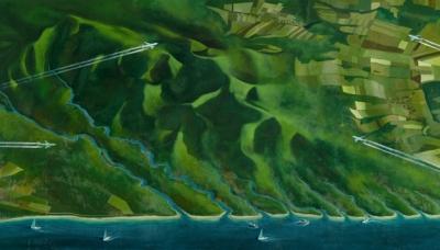 2009 Ten longest river of Hungary, oil on wood, 68x124