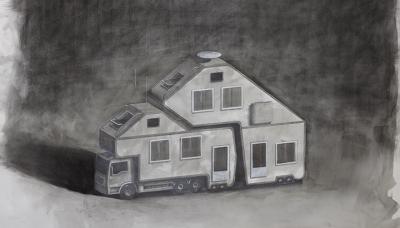 2011 Caravan, Charcoal on paper, 70x100