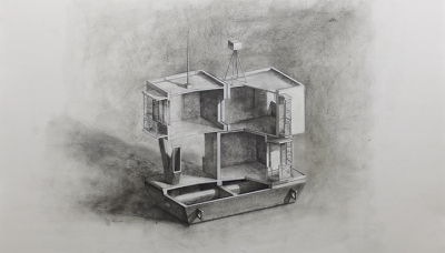 2011 Floating block of flats, Charcoal on paper