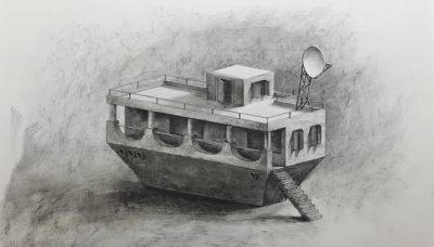 2011 Floating farmhouse, Charcoal on paper, 70x100