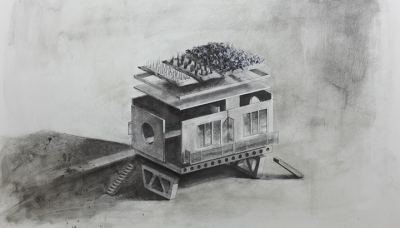 2011 Floating house with Bulgarian horticulture, Charcoal on paper, 70x100