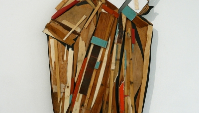 Assembly of wood 120 x 80 cm exhibition Wooderie, Paris