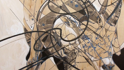 "2010, Big Horn Sheep (laser etch, aerosol, ink on wood panel, 23"" x 30"")"