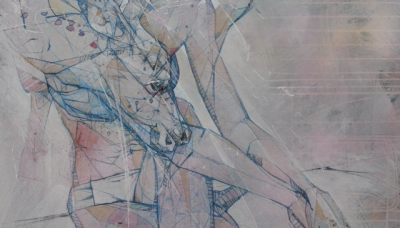 "2011, Comatose (acrylic, aerosol, transfer, graphite, color pencil on wood panel, 30"" x 40"")"
