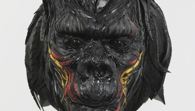Gorilla Head 1, 2009, 67 x 80 x 97 cm, Used tire, synthetic resins