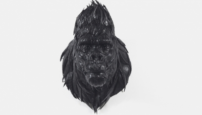 Gorilla Head 2, 2009, 65 x 75 x 95 cm, Used tire, synthetic resins