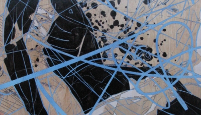 "2010, Pieta (laser etch, acrylic, aerosol, ink, color pencil on wood panel  23"" x 30"")"