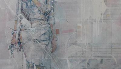 "2011, Survivor (acrylic, aerosol, transfer, graphite, color pencil on wood panel, 30"" x 40"")"