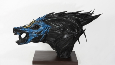 Wild Boar Head 4, 2009, 40 x 85 x 60 cm, Used tire, synthetic resins