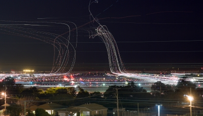 SFO rush hour on Friday, December 18th, 2009, at 10pm