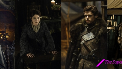 18 Balon Greyjoy played by Patrick Malahide, Catelyn Stark played by Michelle Fairley, Robb Stark played by Richard Madden, and Brienne played by Gwendoline Christie