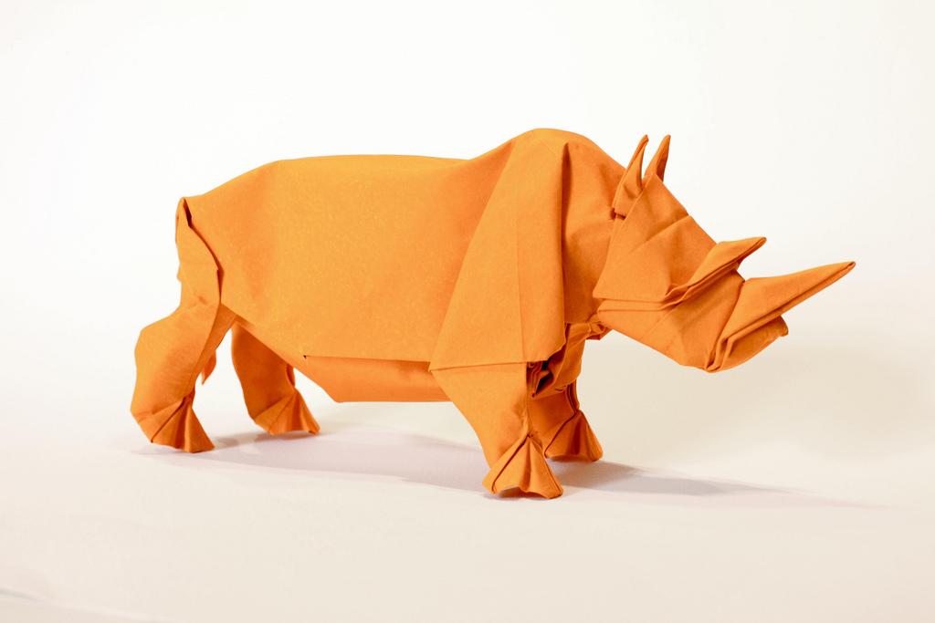 origami rhino unfolding mabona origami x stoptrick the