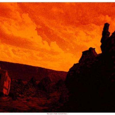 "My Name Is Walter Hartwell White by Daniel Danger, 12"" x 36"", screenprint, editon of 300"