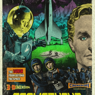 Prometheus B-movie style vintage poster art by Cucaracha Borracha
