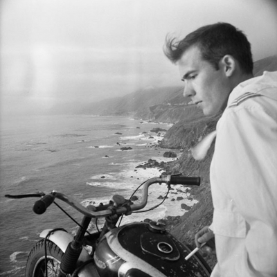 Early 04 Self Portrait, Big Sur on Motorcycle, circa 1960s