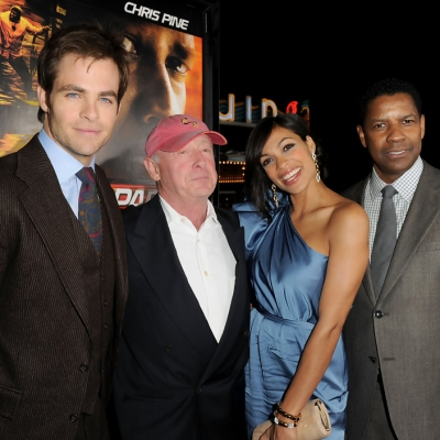 Chris Pine, Tony, Rosario Dawson and Denzel Washington at Unstoppable premiere