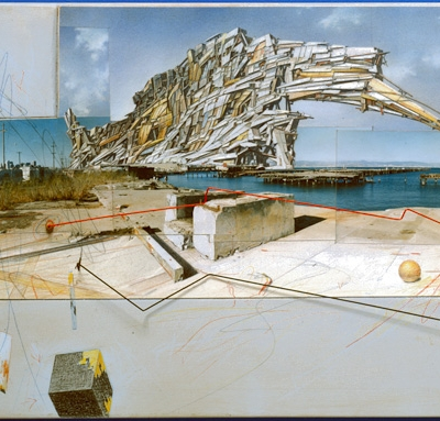 San Francisco Project - Inhabiting the Quake, Quake City, 1995. Graphite, colored pencil, pastel, acrylic, chromogenic print, paper, wood, and metal