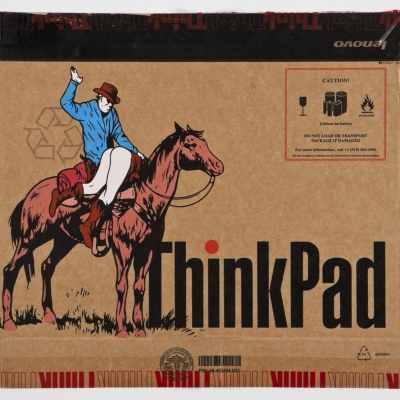 "Thinkpad 2, Acrylic on Found Product Packaging, 19x17.5"" Unframed"