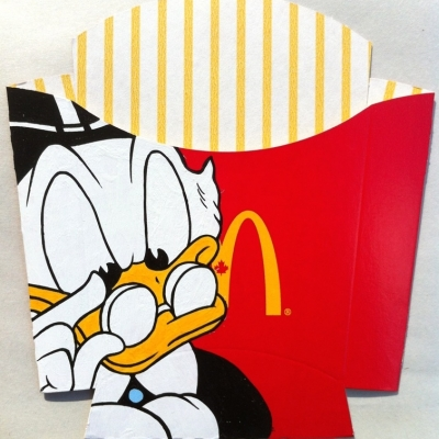 "McDuck, Acrylic on Found Product Packaging, 9.5x9.5"" Framed"