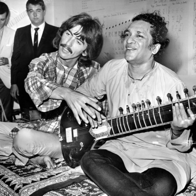 Beatle George Harrison, left, with Ravi Shankar in 1967