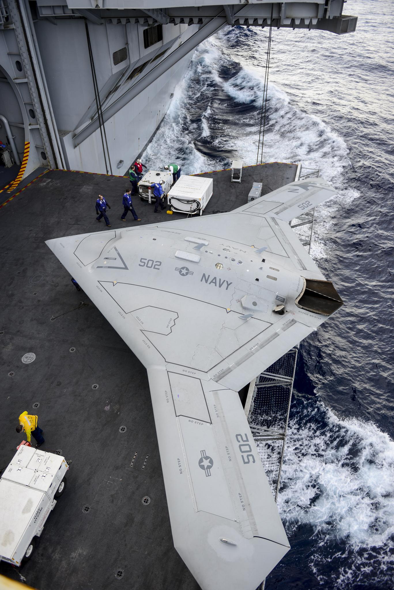 X 47b At Night The X-47B aboard USS H...