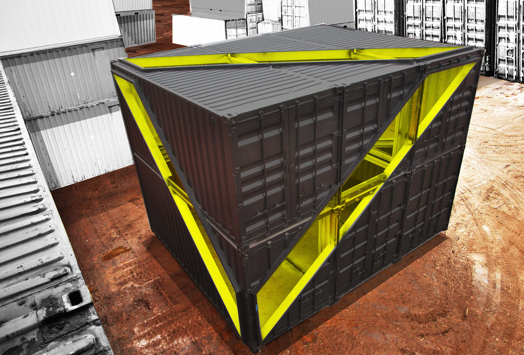 Whitney studio shipping container installation lot ek for Architecture container
