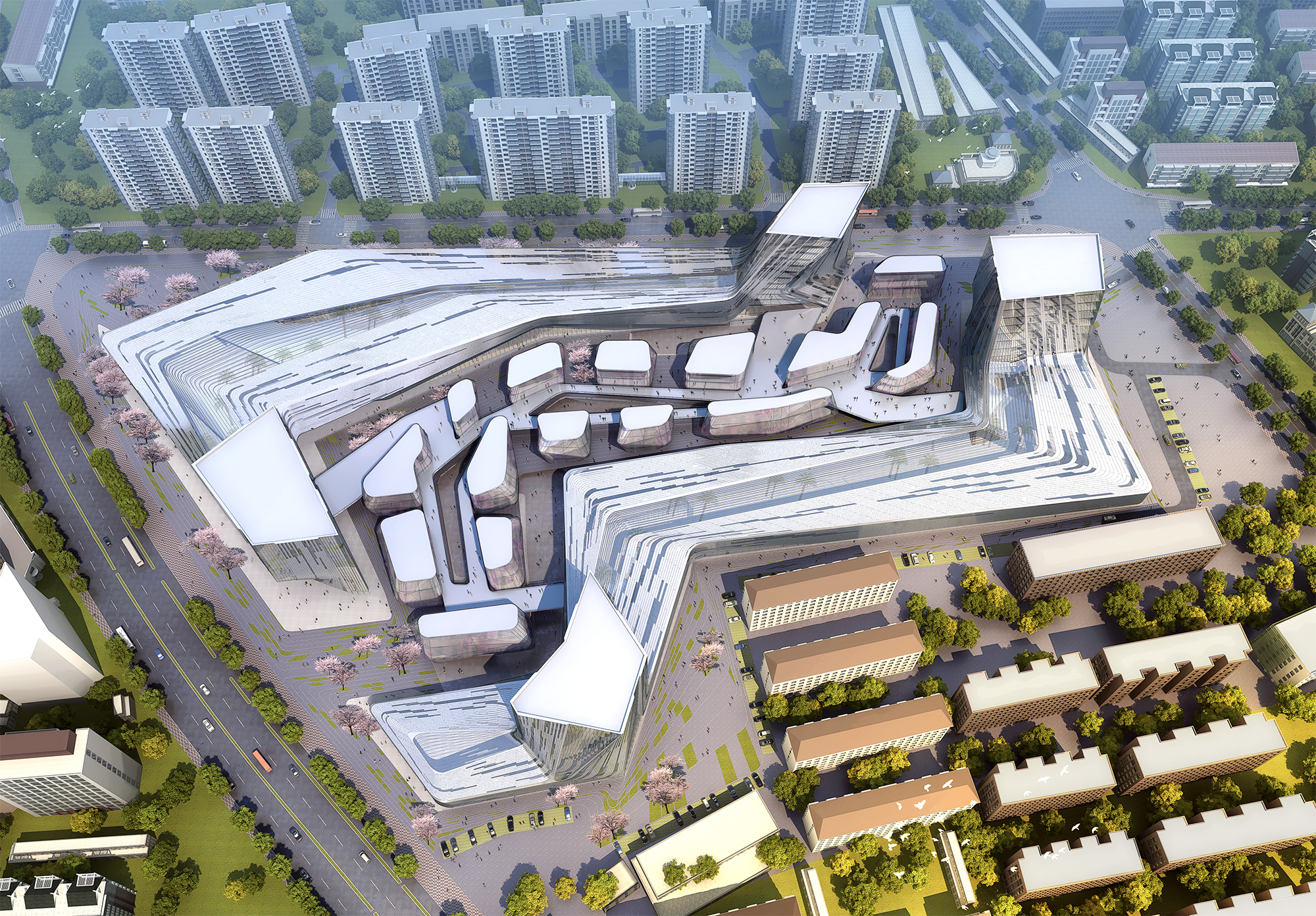 Shanghai wuzhou international plaza urban canyon for Space architecture and design