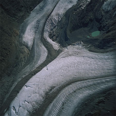 CRACKS IN THE ICE OF THE ALETSCH GLACIER