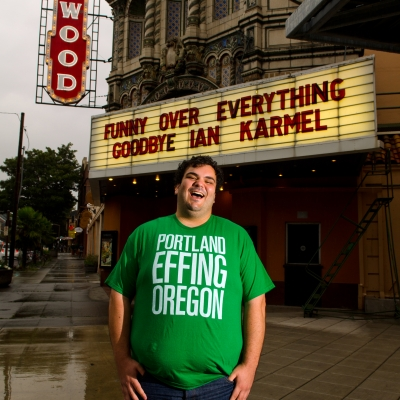 02 Funny Over Everything - Ian Karmel in front of the Hollywood Theater.