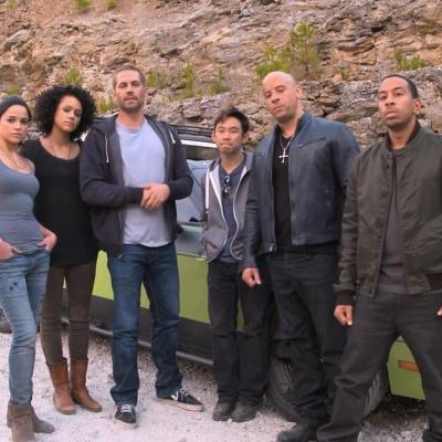 Michelle Rodriguez, Nathalie Emmanuel, Walker, James Wan, Vin Diesel and Ludacris on the set of 'Fast & Furious 7'