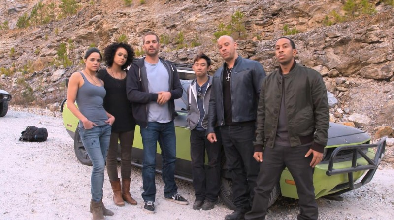 Michelle Rodriguez, Nathalie Emmanuel, Walker, James Wan, Vin Diesel and Ludacris on the set of 'Fast & Furious 7'