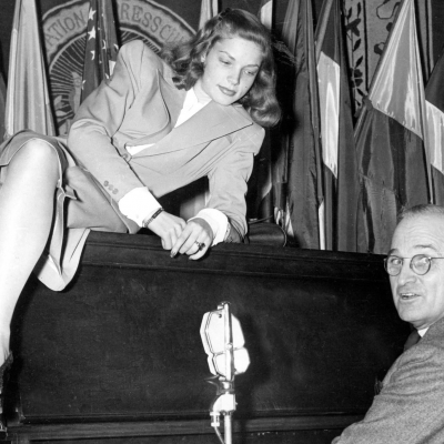 1945 - Lauren Bacall with Vice President Harry S. Truman (United Press International)