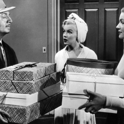1953 - William Powell, left, Marilyn Monroe and Bacall are seen in the romantic comedy 'How to Marry a Millionaire' (20th Century Fox)
