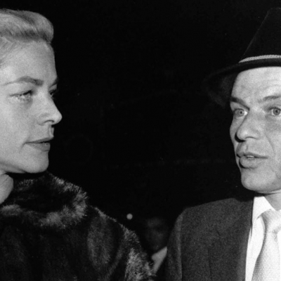 1957 - Bacall accompanies Frank Sinatra to a screening of his movie Pal Joey' (AP)