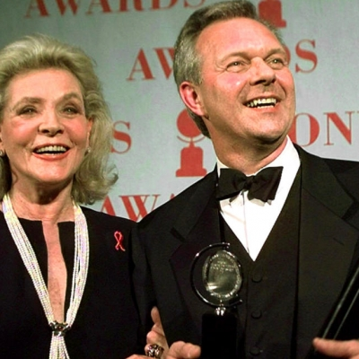 1997 - Theater director Walter Bobbie poses with his Tony Award for director of a musical for Chicago with Bacall (Timothy A. Clary)